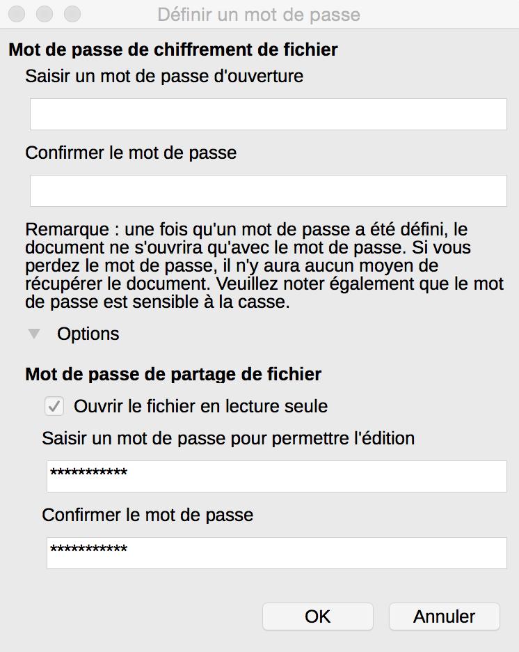Capture d'écran des options pour la fenêtre du mot de passe