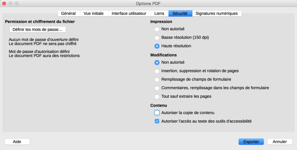 Capture d'écran des options de sécurité lors de l'export en PDF